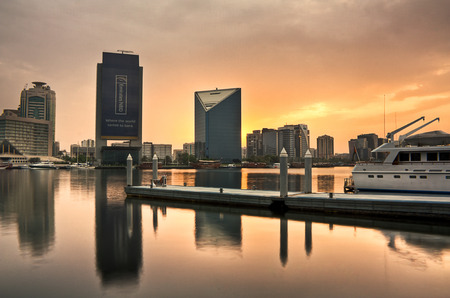 bur dubai: Yatch pier in Dubai Abra during sunrise Editorial