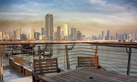 Sharjah city view from Corniche, UAE photo