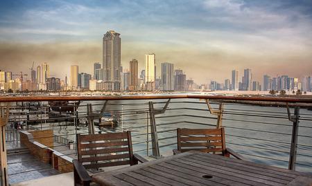 sharjah: Sharjah city view from Corniche, UAE Stock Photo