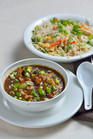 gobi: Cauliflower or Gobi Manchurian and Fried Rice Stock Photo