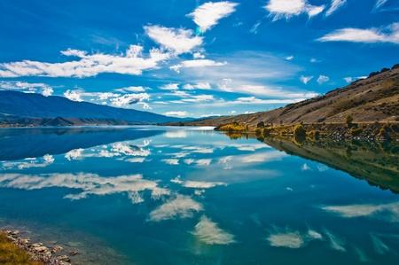 reflect: Beautiful reflection lake, New Zealand, Southern Alps