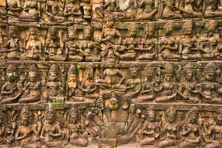 Bas-relief sculptures at the Terrace of the Leper King, Siemreap, Cambodia  Stock Photo - 10252352