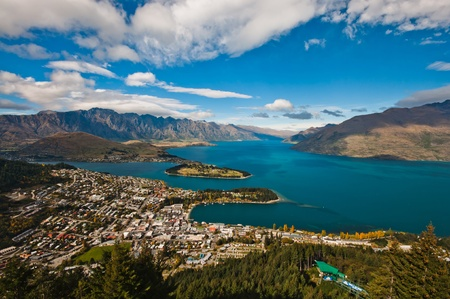 wakatipu: closeup of queenstown with lake Wakatipu from top at noon.  Stock Photo