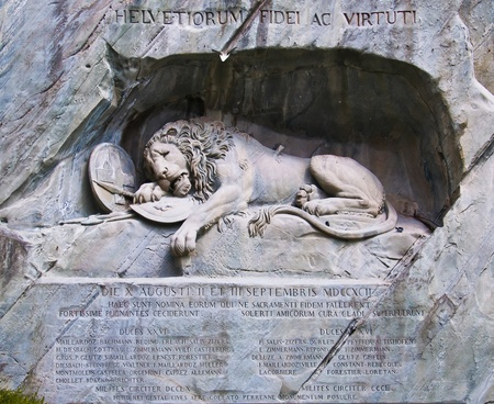 Famous lion monument in lucerne  Stock Photo
