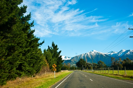 Road to mount Cook, Southern Alps, New Zealand  photo