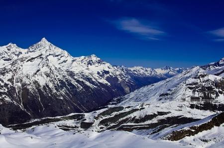 chocolate peak: View form  Matterhorn peak, logo of Toblerone chocolate, located at Gornergrat in Switzerland