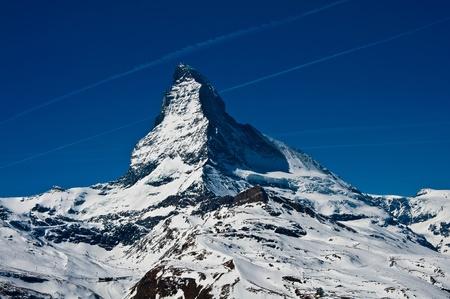 chocolate peak: Matterhorn peak, logo of Toblerone chocolate, located at Gornergrat in Switzerland