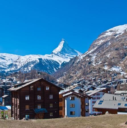 Zermatt town with Matterhorn peak blackground, logo of Toblerone chocolate, located at Gornergrat in Switzerland