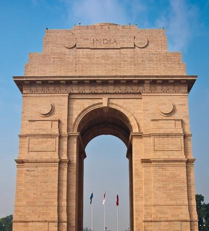 india gate: India Gate war memorial in New Delhi, India.