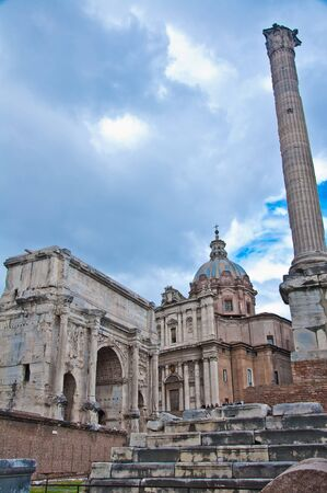 Roman Forum One of the most famous landmarks in the world located at Rome, Italy.  photo