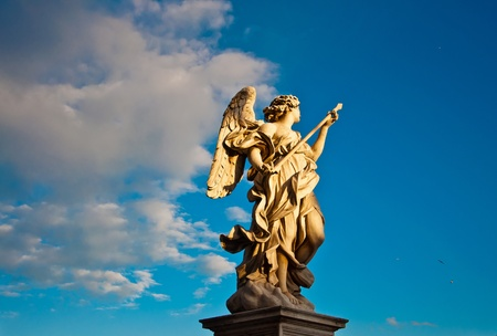 archangel: Berninis marble statue of angel from the SantAngelo Bridge in Rome, Italy