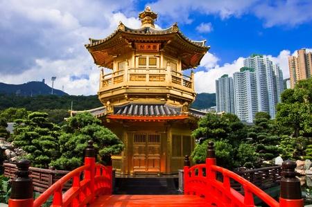 buddhist structures: oriental golden pavilion of Chi Lin Nunnery and Chinese garden, landmark in Hong Kong