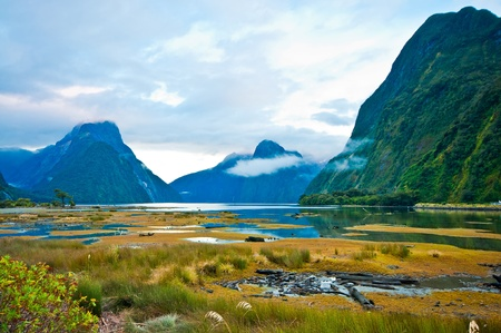 landscape of high mountain glacier at milford sound, New Zealand Stock Photo