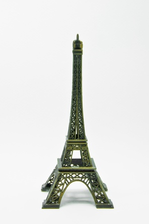 Statue of eiffel tower isolated on white  photo