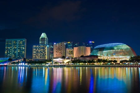 riverside landscape: Marina Bay, Singapore at night Stock Photo