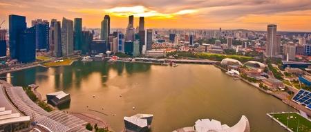 riverside landscape: Panorama of Singapore from Marina Bay Sand Resort at beautiful sunset