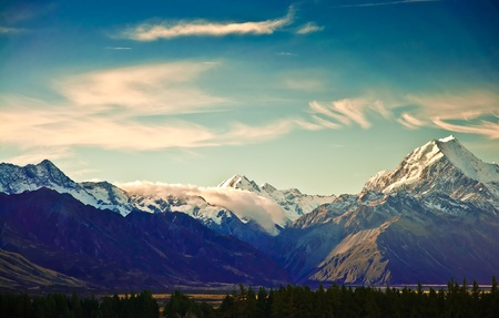 New Zealand scenic mountain landscape shot at Mount Cook National Park.