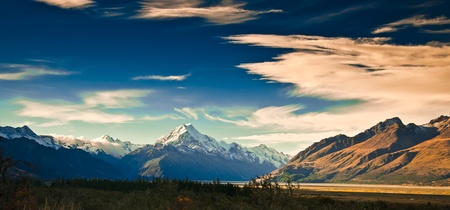 New Zealand scenic mountain landscape shot at Mount Cook National Park.  photo