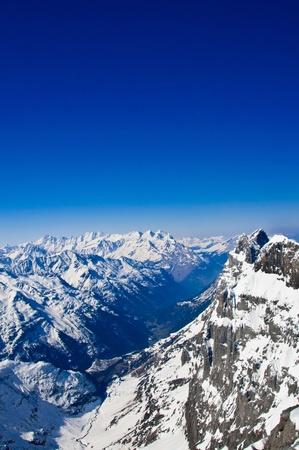 Winterlandschap in de Jungfrau-regio Stockfoto