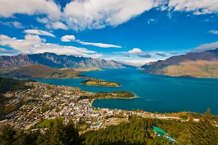 aerial view Queenstown downtown skyscraper Stock Photo