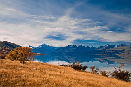 New Zealand. Mountain landscape including Aoraki Mt. Cook and Mt. Tasman of Southern Alps. Snowcapped mountains.
