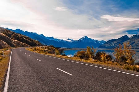 stone road: Road to Mount Cook and Pukaki lake, New Zealand