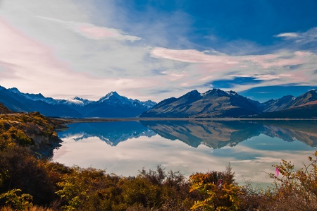 New Zealand. Mountain landscape including Aoraki Mt. Cook and Mt. Tasman of Southern Alps. Snowcapped mountains.  photo
