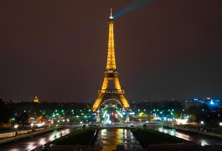 PARIS - APRIL 19 : Light Performance Show on April 19, 2010 in Paris. The Eiffel tower stands 324 metres (1,063 ft) tall. Monument was built in 1889, attendance is over 7 millions people.