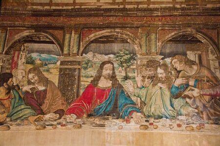 italian fresco: Carpet painting in vatican last supper