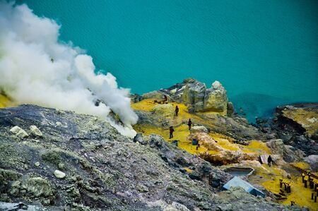Open-cast sulfur mine, general view at Kawah Ijien volcano on Java Island, Indonesia