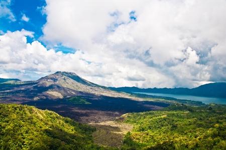 Landschap van Batur vulkaan op Bali eiland, Indonesië Stockfoto