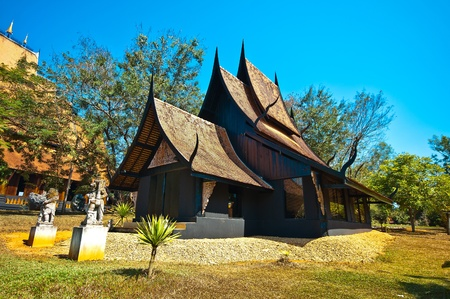 Lanna architectuur Traditionele noordelijke Thaise stijl architectuur met unieke schoonheid.