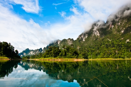 Khao Sok mountain and lake in thailand