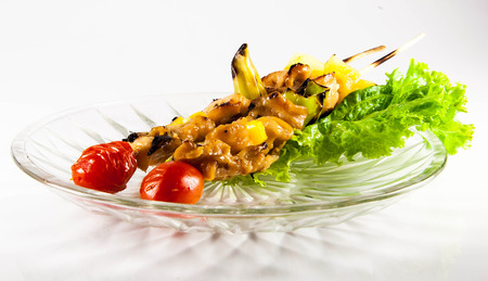 seasoned: Chicken kebabs with bell peppers and cherry tomatoes Stock Photo