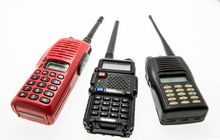 cb phone: Used Portable UHF radio transceiver isolated on white background Stock Photo