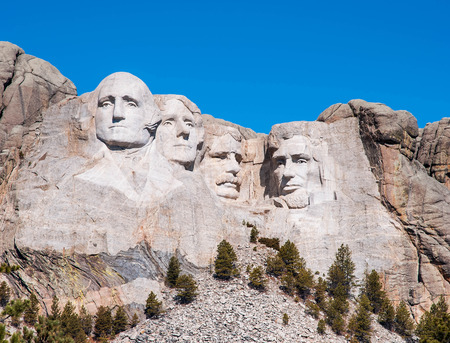 Mount Rushmore National Monument in South Dakota. Summer day with clear skies.