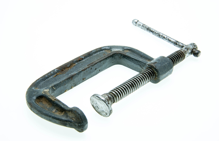 lugworm: old and used clamp isolated against a white
