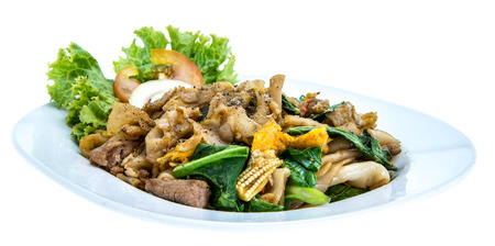 Pad See Ew, flat rice noodle stir fried with pork photo