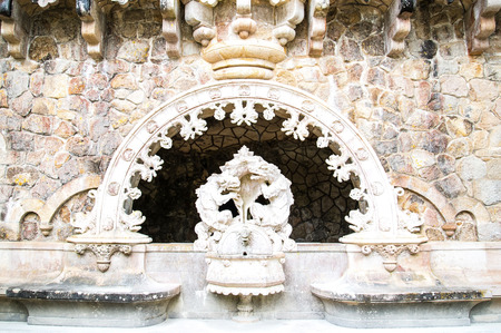quinta: The ancient fountain in the Quinta da Regaleira in Sintra - Portugal