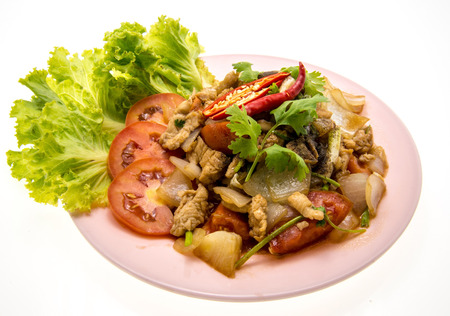 chinese style Black pepper chilli chicken  on plate photo