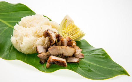 Barbecued pork and sticky rice on leafs photo