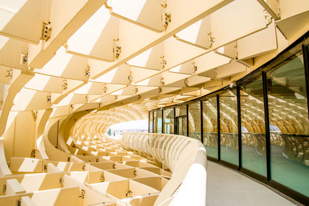 eggtray: SEVILLA,SPAIN -JUNE 05 : Metropol Parasol in Plaza de la Encarnacion on June 05, 2014 in Sevilla, Spain. J. Mayer H. architects, it is made from bonded timber with a polyurethane coating.