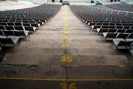 baseball field: stadium seats in a rear view