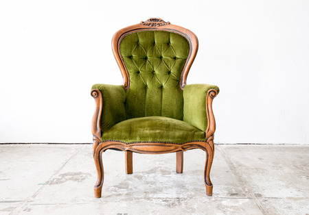 sofa: Green classical style Armchair sofa couch in vintage room
