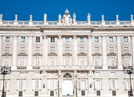 palacio: Royal Palace. Palacio de Oriente, Madrid landmark, Spain. Stock Photo