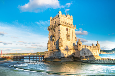 the tagus: Belem Tower on the Tagus river in the morning, famous city landmark in Lisbon, Portugal.