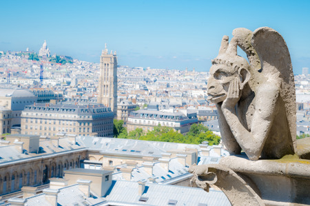 gargouille: Gargouille (chim�re) sur la rue Notre-Dame de Paris de pr�s donnant flou ville � un jour d'�t�