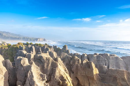south island new zealand: Punakaki Pancake Rocks in Paparoa National Park, West Coast, South Island, New Zealand Stock Photo