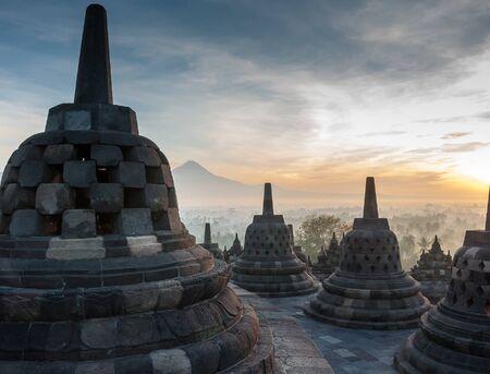 YOGYAKARTA: Sunrise at Borobudur Temple, Yogyakarta, Java, Indonesia. Stock Photo