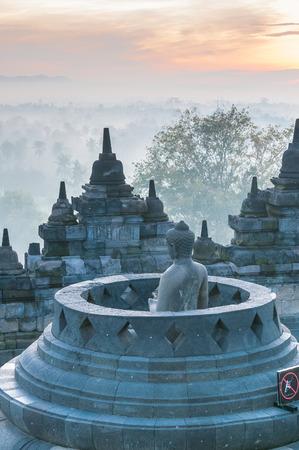 Sunrise at Borobudur Temple, Yogyakarta, Java, Indonesia. Standard-Bild